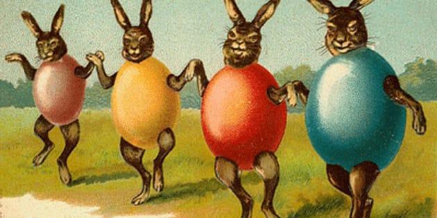 Cartão de Páscoa vintage do século 20.