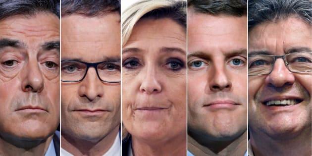 Na sequência, os candidatos a presidente François Fillon (conservador), Benoit Hamon (socialista), Marine Le Pen (extrema-direita), Emmanuel Macron (centrista) e Jean-Luc Mélenchon (extrema-esquerda).