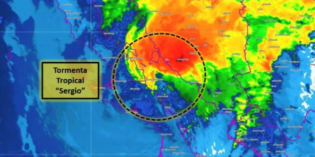 La tormenta tropical Sergio al tocar tierra en Baja California Sur.