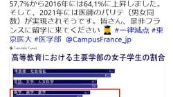 東京医科大の女子減点問題、フランスやフィンランド大使館は女性医師の割合高いとTwitterでPR