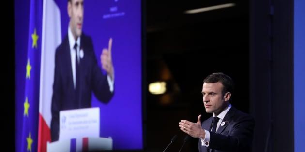 Dîner du Crif: Macron promet une loi contre la haine sur internet dès le mois de mai (photo prise le 20 février à Paris)
