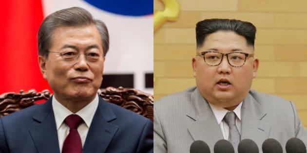 Les présidents sud-coréenet nord-coréen, Moon Jae-in et Kim Jong-Un.