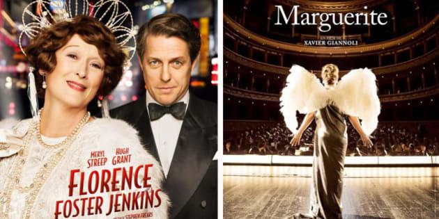 """Les affiches de """"Florence Foster Jenkins"""" et de """"Marguerite""""."""