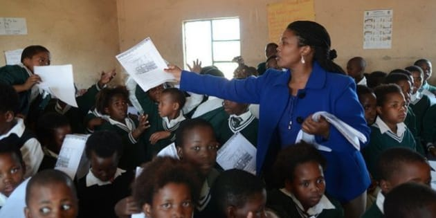 Nomzekelo Ndibongo, a teacher in South Africa, with her class.