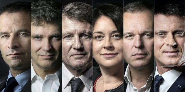 Photomontage des candidats de la primaire de la gauche. AFP PHOTO / JOEL SAGET