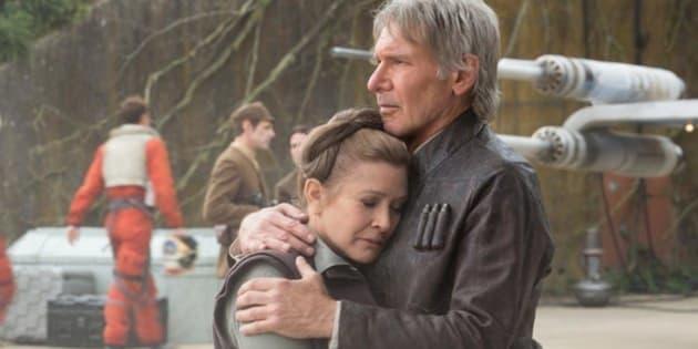 La princesse Leia (Carrie Fisher) et Han Solo (Harisson Ford) dans Star Wars VII.