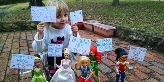 Esta garotinha de 4 anos resolveu fazer sua própria Marcha das Mulheres