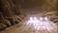 Saint-Étienne sous la neige après une nuit de