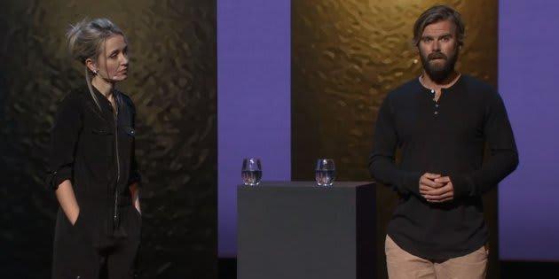 Thordis Elva et Tom Stranger lors de leur conférence TED en octobre 2016.
