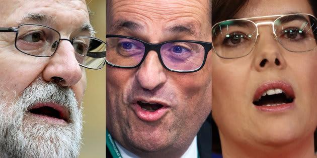 Mariano Rajoy, Quim Torra y Soraya Sáenz de Santamaría.