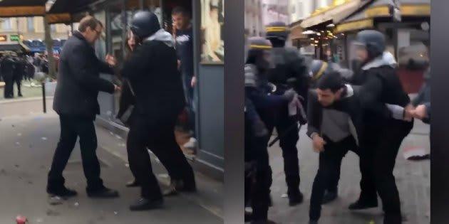 Extrait de la vidéo où Alexandre Benalla moleste le couple, après que ceux-ci ont lancé des projectiles sur les forces de l'ordre.