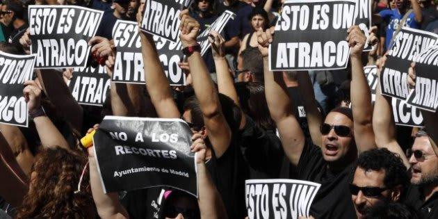 Protestas contra los recortes durante la crisis económica.