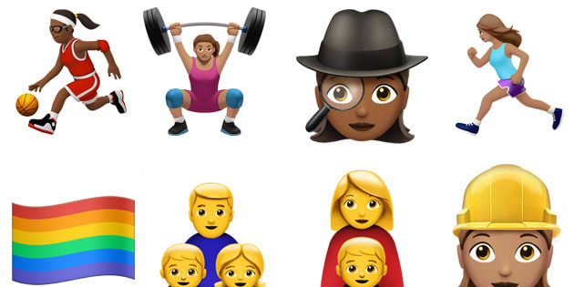 Some of the new emojis in the iOS 10 update.