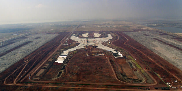 Vista aérea del Nuevo Aeropuerto Internacional de México (NAIM), en Texcoco, el 26 de abril de 2018.