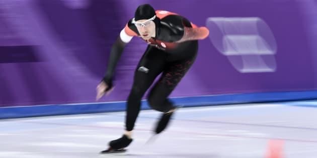 Canada's Ted-Jan Bloemen competes during the men's 5,000-metre speedskating event during the Pyeongchang 2018 Winter Olympic Games at the Gangneung Oval.