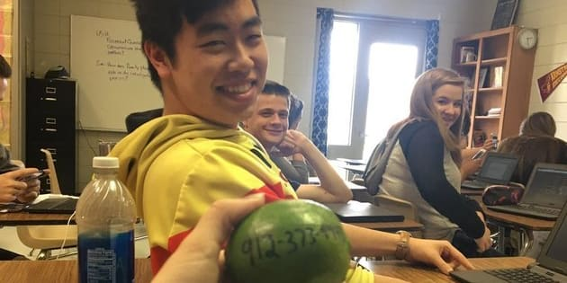 Michael Nguyen gave Salguero a lime with his number on it during class.