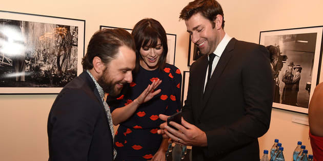 """John Krasinski, Mary Elizabeth Winstead and Charlie Day at """"The Hollars"""" premiere in Los Angeleson Aug. 22."""