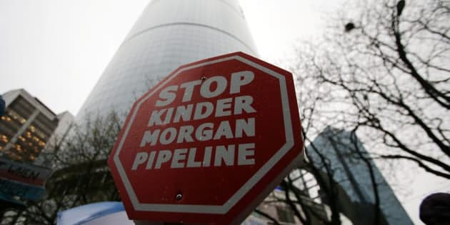 Opponents of the Kinder Morgan oil pipeline protest outside Liberal Party fundraising event in Vancouver, B.C., on April 5, 2018.