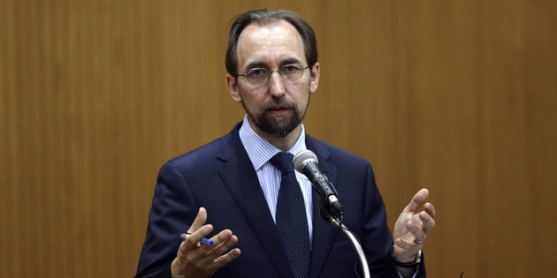 United Nations High Commissioner for Human Rights Zeid Ra'ad Al Hussein delivers a speech at the opening of a new Council's session on June 13, 2016 in Geneva. Registration centers for migrants arriving on the Greek islands from the Turkish coast are essentially 'large areas of forced confinement', on Monday denounced the UN High Commissioner for Human Rights Zeid Ra'ad Al Hussein. / AFP / FABRICE COFFRINI        (Photo credit should read FABRICE COFFRINI/AFP/Getty Images)