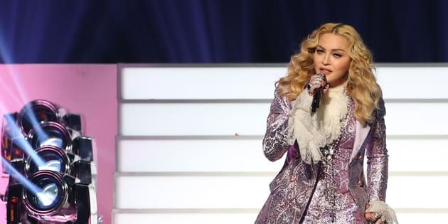 Singer Madonna is seen on stage during the 2016 Billboard Music Awards for her Prince tribute.