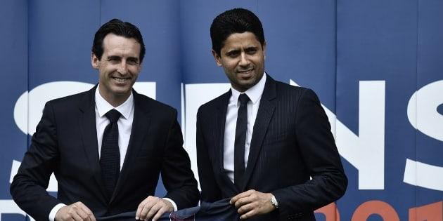 Le président du PSG Nasser Al-Khelaïfi et Unai Emery lors de l'arrivée de ce dernier au sein du club parisien en juillet 2016.