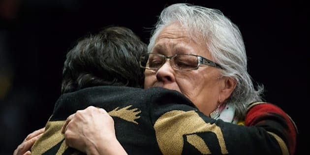 Emotional embraces at the final day of hearings at the National Inquiry into Missing and Murdered Indigenous Women and Girls, in Richmond, B.C., on Apr. 8, 2018.