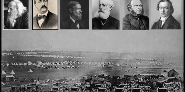 Dmitrij Mendeleev, Aleksandr Borodin, Stanislao Cannizzaro, Friedrich August Kekulé, Charles-Adolphe Wurtz e Jean Baptiste André Dumas