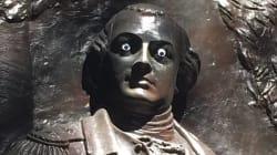 誰ですか、こんなことをしたのは...。アメリカの歴史的な銅像、「ギョロ目」になってしまう