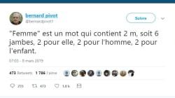 Ce tweet de Bernard Pivot sur la journée des droits des femmes passe