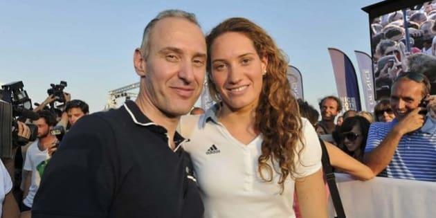 Guy Muffat et sa fille Camille, championne olympique de natation, décédée le 9 mars 2015 dans un accident d'hélicoptère en Argentine.