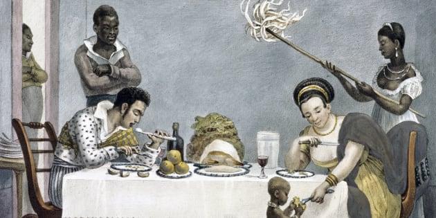 """A aquarela """"Um Jantar Brasileiro"""", de Jean-Baptiste Debret, expressa a desigualdade do Brasil escravocrata de 1800."""