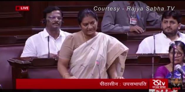 Sasikala Pushpa speaking at the Rajya Sabha.