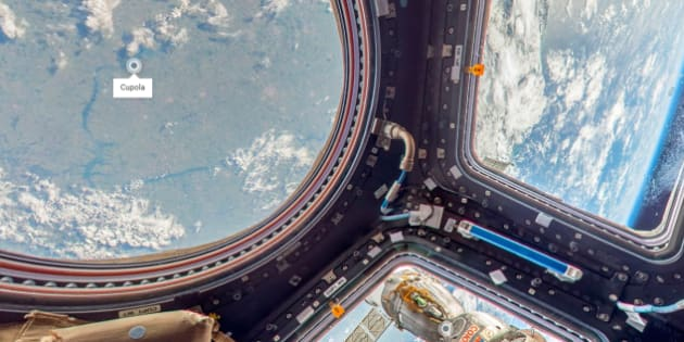 Une vue de la Cupola, l'observatoire de la Station spatiale internationale.   Photo : Google