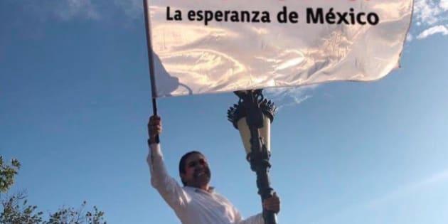 Ariel Maldonado Leza en una manifestación pública a favor de Morena, el partido al que pertenece él y el presidente electo Andrés Manuel López Obrador