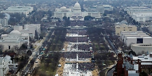 People attend inauguration ceremonies for U.S. President Donald Trump in Washington, DC.