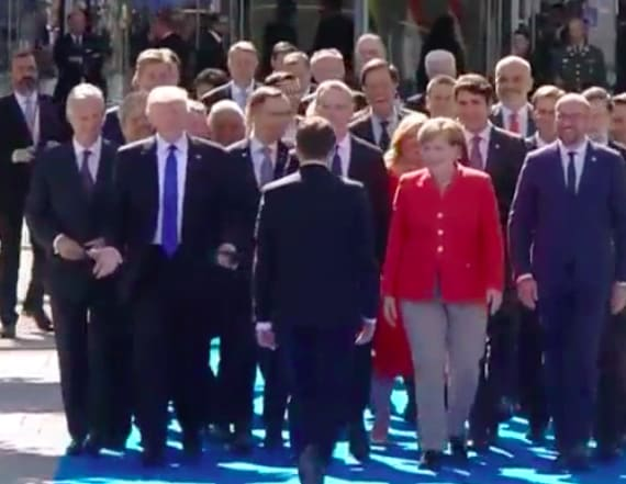 Macron appears to snub Trump's handshake at NATO