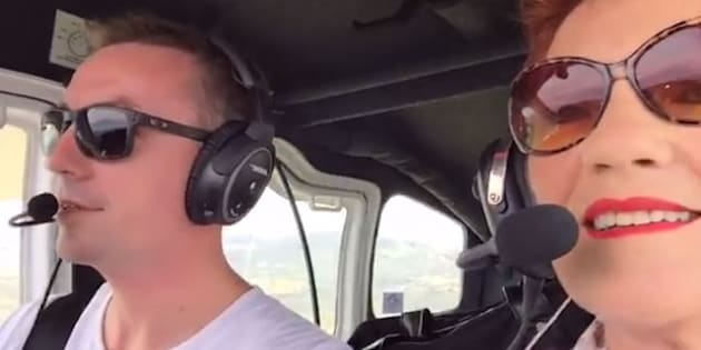James Ashby and Pauline Hanson in the cockpit