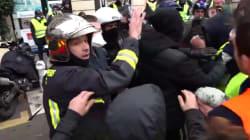 Les CRS ont dû ouvrir la voie à ces pompiers pour qu'ils puissent