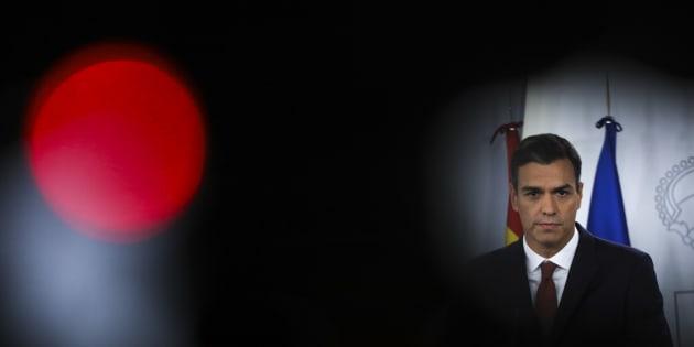 Pedro Sánchez, durante su comparecencia de ayer en La Moncloa.