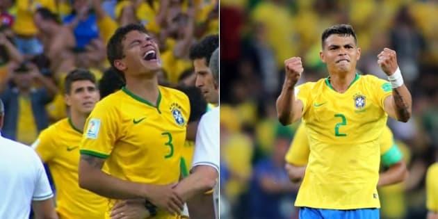 Thiago Silva chorando em 2014 e vibrando 4 anos depois: volta por cima de um dos melhores zagueiros do mundo.