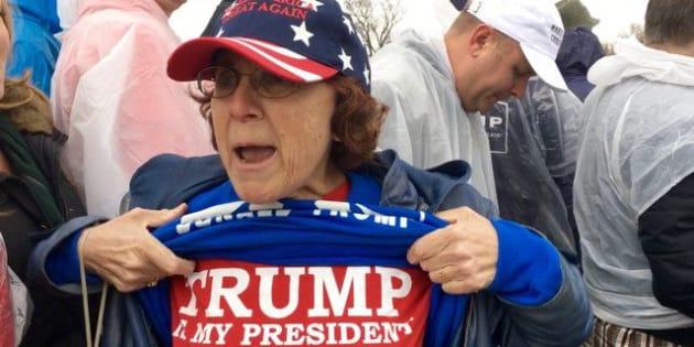 Barbara Vollick of Murrieta California shows her Trump pride at his inauguration