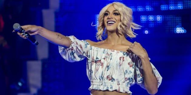 Drag queen Pablo Vittar participa do programa Caldeirão do Huck, da Rede Globo.