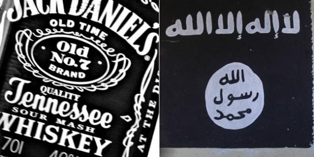ジャック・ダニエル(左)、ISの旗(右)