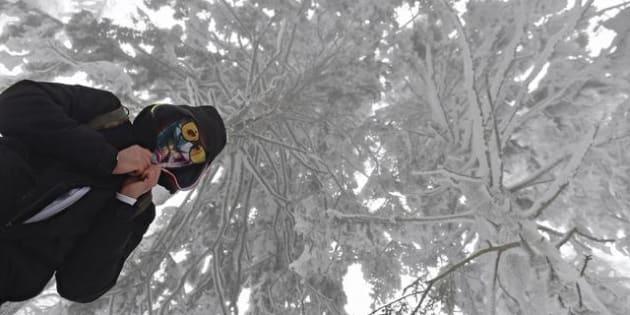 Un'immagine della neve sull'Appenino Tosco-Romagnolo, 24 febbraio 2018.  ANSA/MAURIZIO DEGL'INNOCENTI