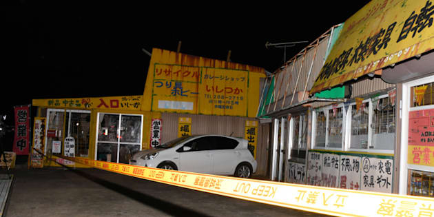 女性店長が切りつけられ、現金を奪われたリサイクル店=茨城県城里町石塚