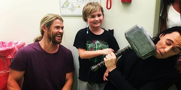 The duo took time out of their filming schedule to surprise more than 80 children.