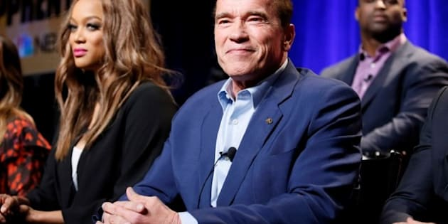 "Host Arnold Schwarzenegger and Tyra Banks participate in a panel for ""The New Celebrity Apprentice"" in California on December 9."