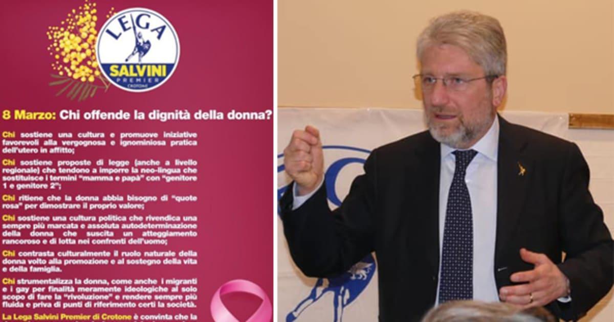 """Giancarlo Cerrelli, segretario della Lega di Crotone: """"Frainteso il volantino per l'8 marzo. Il femminicidio? Un pretesto. Il femminismo ha distrutto la famiglia"""""""