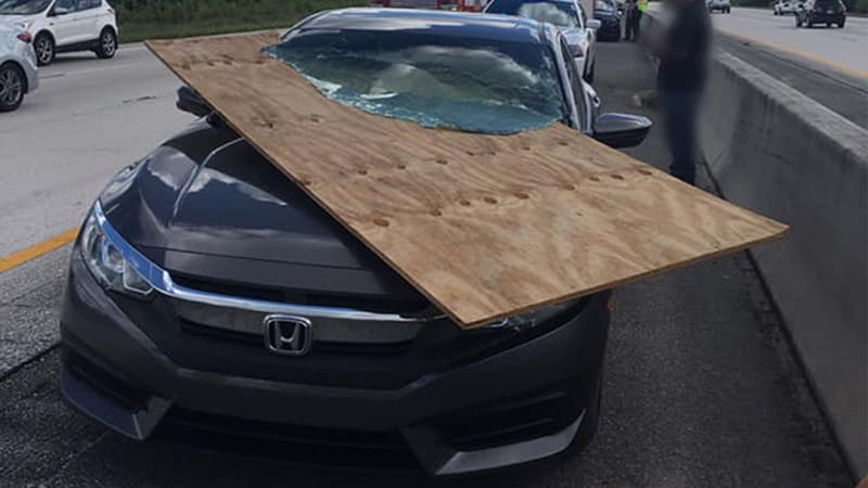 Plywood slices into Florida woman's car in latest unsecured-load