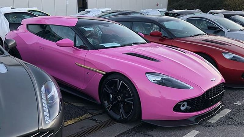 aston martin flashes bright pink vanquish zagato shooting brake